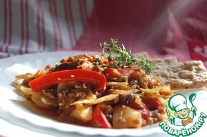Рецепт Капуста с грибами, помидорами и зелёной чечевицей