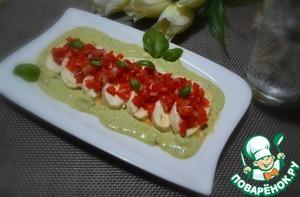 Рецепт Моцарелла с салатом из перца и песто