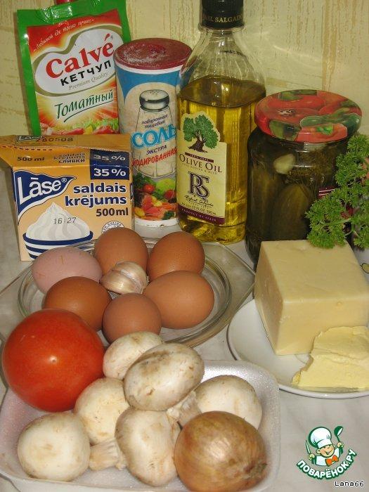 Как готовить вкусный рецепт с фото Омлетный торт с грибами #1