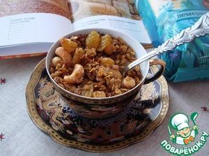 Рецепт Запеченные мюсли из геркулесовых хлопьев с кешью, фундуком и изюмом