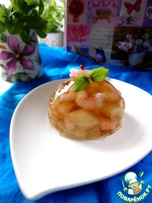Рецепт Заливное с дыней и креветками
