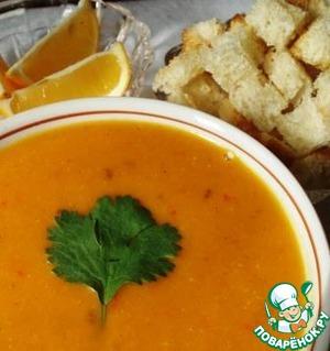 Рецепт Чечевичный суп с луком-пореем, молодой морковью и болгарским перцем