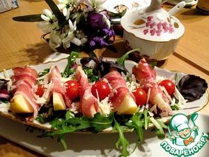 Рецепт Пармская ветчина с грушей и пармезаном