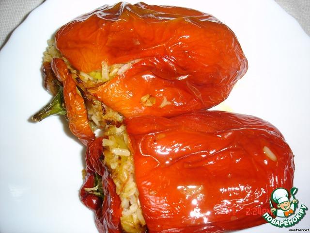 Перец фаршированный овощами и рисом рецепт с фото пошагово