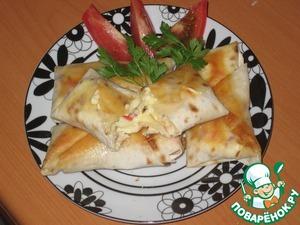 Рецепт Лаваш с колбаской и крабовыми палочками
