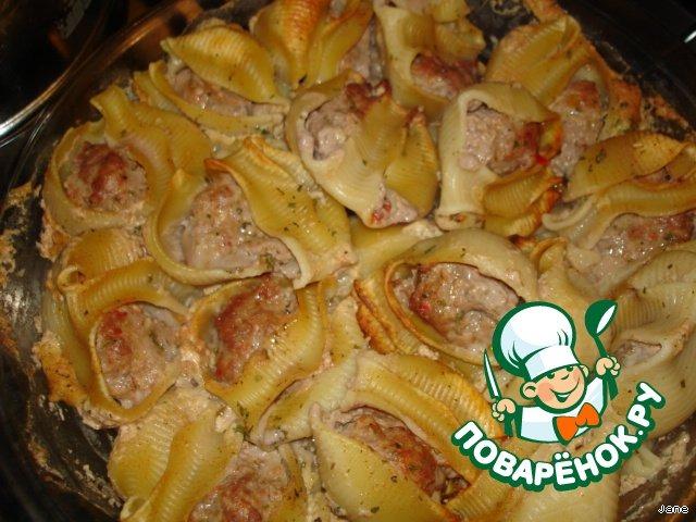 Фаршированные рожки под соусом простой рецепт приготовления с фото #8