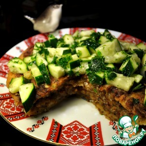 Рецепт Постный картофельный пирог с гречкой и грибами