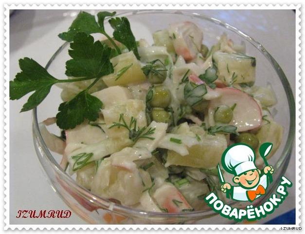 Крабовый салат с ананасами и капустой