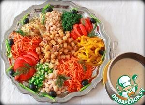 Рецепт Постный супер фасолевый салат с хлебом