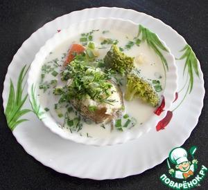 Рецепт Суп из налима с брокколи и сливками