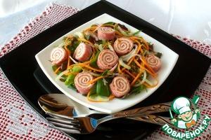 Рецепт Салатный микс с рулетиками из салями с сыром