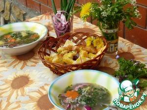 Рецепт Суп гречневый с крапивой и золотистыми гренками