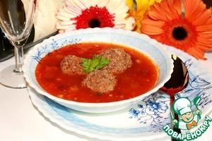 Рецепт Томатный суп с фрикадельками из баранины с начинкой из козьего сыра и фундука