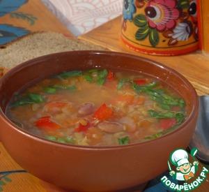 Рецепт Овощной суп с фасолью и чечевицей