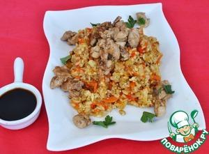 Рецепт Хибачи (жареный рис ) с молоками в соевом соусе