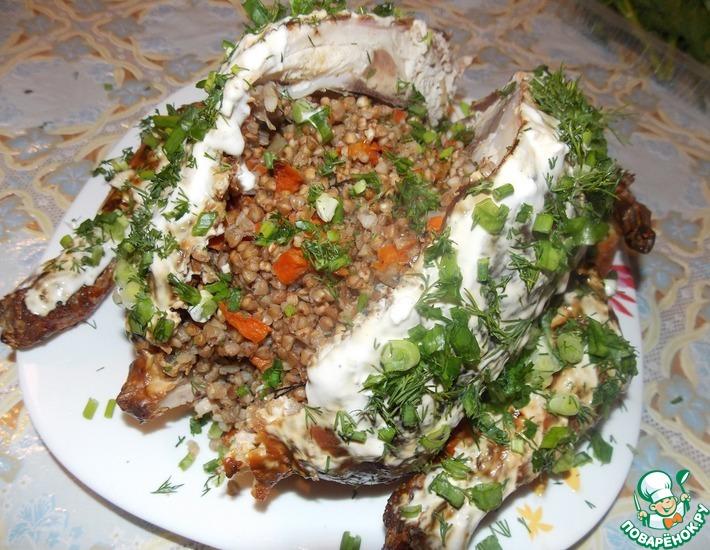 Рецепт: Курица фаршированная гречкой