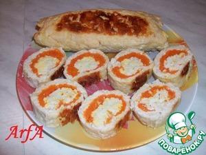 Рецепт Куриный рулетик с морковью и яйцом, запеченный в фольге