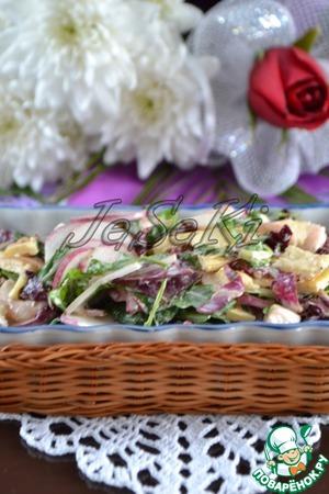 Рецепт Салат с креветками и сырным омлетом