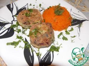 Рецепт Картофельные котлеты с грибами и морковным пюре