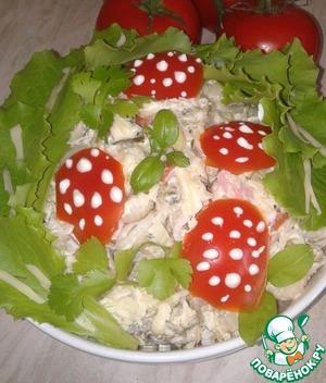 Рецепт Холодный салат из макарон с сосисками