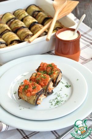 Рецепт Голубцы баклажановые в ароматном томатном пюре