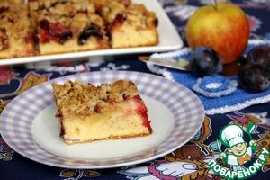 Рецепт Яблочно-сливовый пирог со штрейзелем на полбовой муке