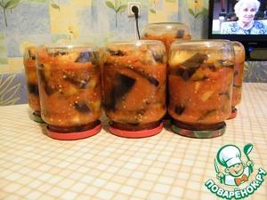 Рецепт Консервированные баклажаны с помидорами