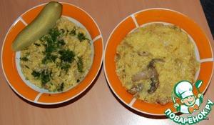 Рецепт Кукурузная каша с кабачком, луком и грибами