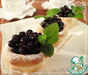 Рецепт Корзиночки с заварным ванильным кремом и черникой