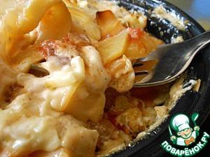 Рецепт Запеканка из картофеля с кабачками и помидорами в горшочках