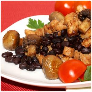Рецепт Теплый салат из черной фасоли