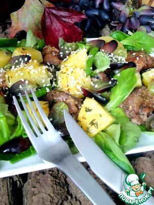 Рецепт Теплый салат из запеченой тыквы и печени