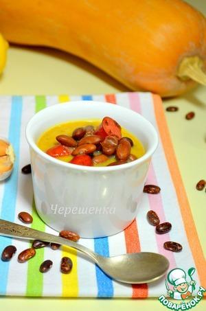 Рецепт Тыквенный суп с фасолью и охотничьими колбасками