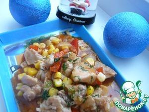 Рецепт Курица с болгарским перцем, кориандром и кукурузой