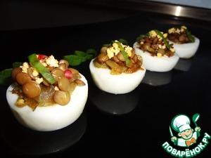 Рецепт Закуска из яиц и зеленой чечевицы с карамелизированным луком