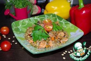 Рецепт Чечевица с овощами и лососем