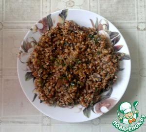 Рецепт Постная каша с грибами и соленым огурцом