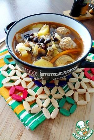 Рецепт Фасолевые щи с фрикадельками и грибами