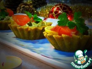Рецепт Закуска из хлебных корзиночек с семгой и каперсами