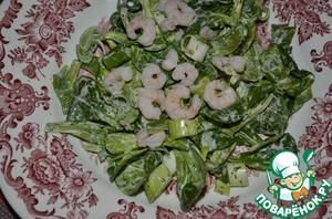 Рецепт Фельд-салат с креветками и зеленым луком