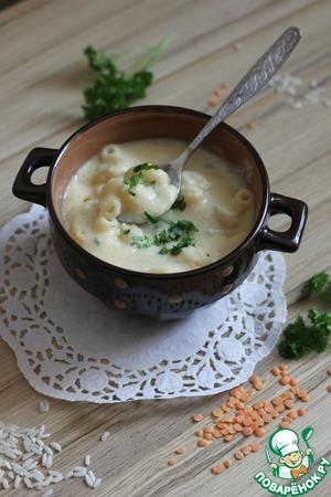 Рецепт Суп-пюре из чечевицы с макаронами и сливками (Lentil & Noodle Soup)