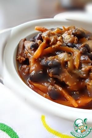 Рецепт Тушёные куриные сердечки с фасолью и грибами