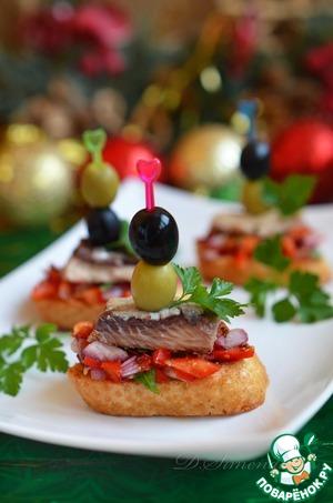 Рецепт Кростини с маринованным салатом и сардинами