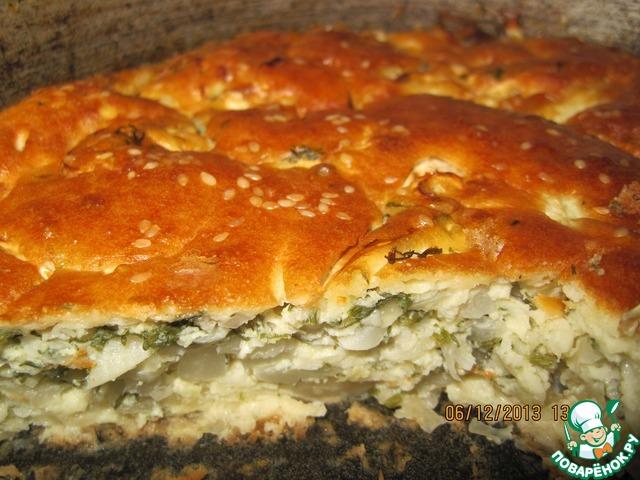 Пирог из жидкого теста с капустой рецепт с