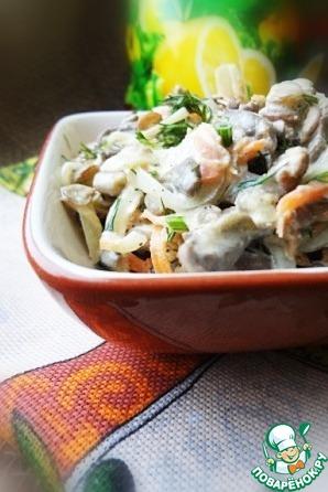 Рецепт Салат с куриными сердечками, чечевицей и овощами