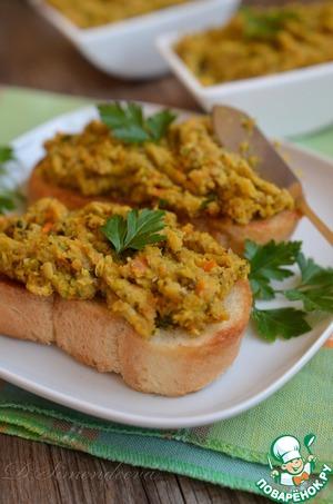Рецепт Паштет из чечевицы с грибами и фисташками