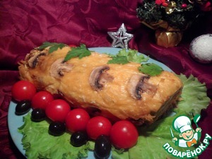 Рецепт Рыбный рулет с грибным омлетом в сырной корочке