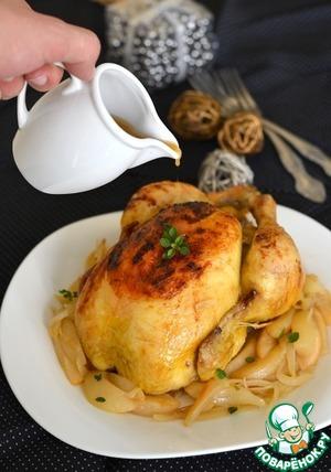 Рецепт Запеченная курица с сидром и грушами