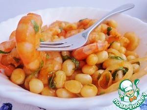 Рецепт Тёплый салат из креветок со сливочной фасолью