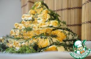 Рецепт Закусочная ёлочка из острых сырных рулетов